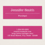 This minimal, elegant, and clean business card design features a magenta background, and a row of star shapes. It could be used by a professional such as a paralegal, attorney, barrister at law or attorney-at-law. The name, profession and contact details can be personalized.