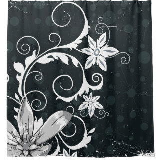 Curtains Ideas black shower curtain with white flower : Black And White Floral Design Shower Curtains | Zazzle
