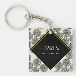 Elegant and Modern Black and White Floral Keychain