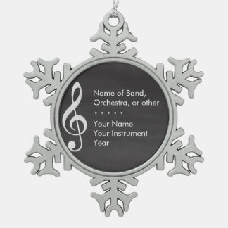 Elegant and Modern Chalkboard Musician Snowflake Pewter Christmas Ornament