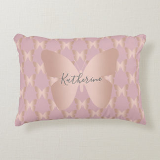 Elegant and modern rose gold butterfly design accent pillow