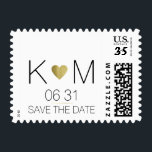 """elegant and modern wedding postage<br><div class=""""desc"""">Add your own name initials and special day date to the templates to create an elegant design with the image of a golden heart...  to tell everyone it is your best day ever</div>"""