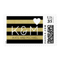 elegant and modern wedding striped postage