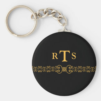 Elegant and Ornate Initials Belt - Black Gold 8 Keychain