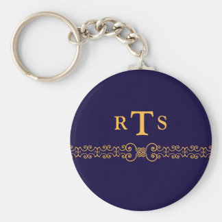 Elegant and Ornate Initials Belt - Blue Gold 8 Keychain