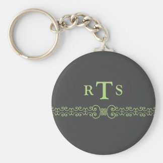 Elegant and Ornate Initials Belt - Gray Green 8 Keychain