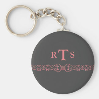 Elegant and Ornate Initials Belt - Gray Pink 8 Keychain