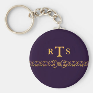 Elegant and Ornate Initials Belt - Purple Gold 8 Keychain