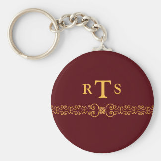 Elegant and Ornate Initials Belt - Red Gold 8 Keychain