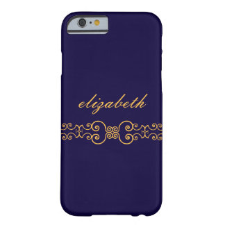 Elegant and Ornate Monogram Belt - Blue Gold 8 Barely There iPhone 6 Case