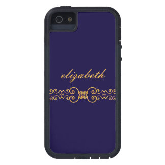 Elegant and Ornate Monogram Belt - Blue Gold 8 Case For iPhone SE/5/5s