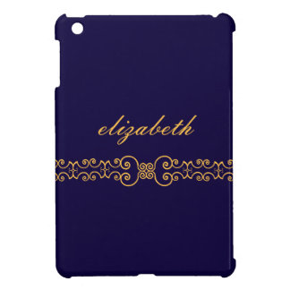 Elegant and Ornate Monogram Belt - Blue Gold 8 Cover For The iPad Mini
