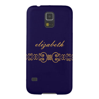 Elegant and Ornate Monogram Belt - Blue Gold 8 Galaxy S5 Cover