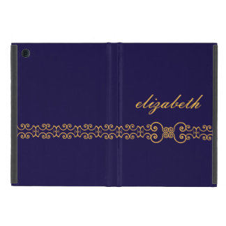 Elegant and Ornate Monogram Belt - Blue Gold 8 iPad Mini Case