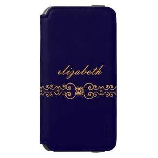 Elegant and Ornate Monogram Belt - Blue Gold 8 iPhone 6/6s Wallet Case
