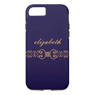 Elegant and Ornate Monogram Belt - Blue Gold 8 iPhone 8/7 Case