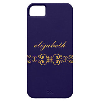 Elegant and Ornate Monogram Belt - Blue Gold 8 iPhone SE/5/5s Case