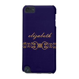 Elegant and Ornate Monogram Belt - Blue Gold 8 iPod Touch (5th Generation) Case