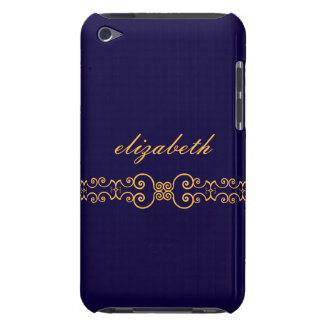 Elegant and Ornate Monogram Belt - Blue Gold 8 iPod Touch Case