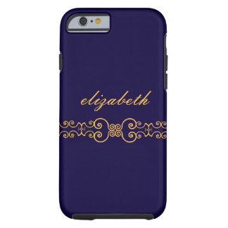 Elegant and Ornate Monogram Belt - Blue Gold 8 Tough iPhone 6 Case