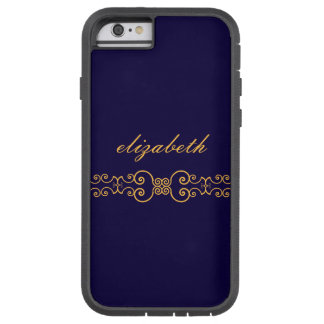 Elegant and Ornate Monogram Belt - Blue Gold 8 Tough Xtreme iPhone 6 Case