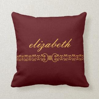Elegant and Ornate Monogram Belt - Deep Red Gold 8 Throw Pillow