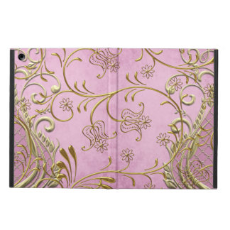 Elegant and Pretty Damask Pink Gold iPad Air Covers