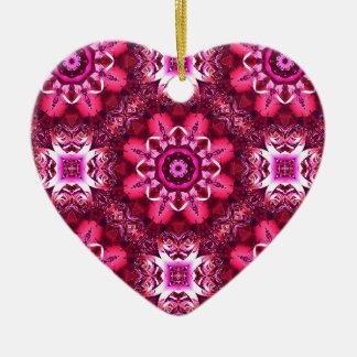Elegant and pretty pink kaleidoscope flowers heart ceramic ornament