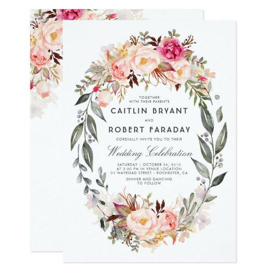 Zazzle Wedding Invitations.Elegant And Rustic Floral Wedding Invitation