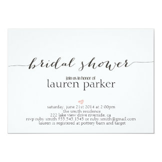 Elegant and Simple Bridal Shower Invitation
