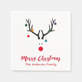 Elegant and simple Christmas reindeer in white red Napkin