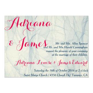 Elegant and stylish pink and blue wedding invites