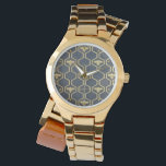 """Elegant and Stylish Women&#39;s Wrist Watch<br><div class=""""desc"""">Elegant and Stylish Women&#39;s Wrist Watch. &#169; Radenbrea Studios at Zazzle. This stylish women&#39;s watch has a navy face with a gold hexagonal and honey bee design. Very feminine and modern.</div>"""
