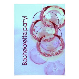 elegant and whimsical wine glasses bachelorette 5x7 paper invitation card
