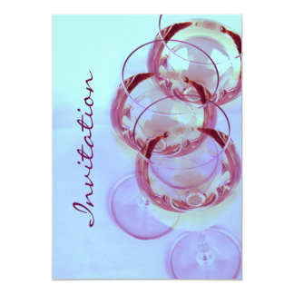 elegant and whimsical wine glasses party 5x7 paper invitation card