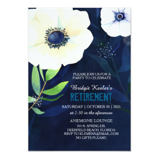 Elegant Anemones Retirement Party Card
