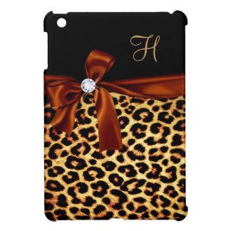 Elegant Animal Print Faux Diamond Monogrammed iPad Mini Covers
