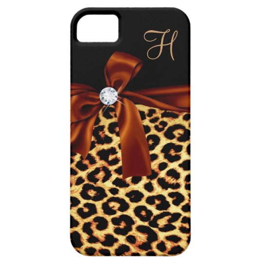 Elegant Animal Print Faux Diamond Monogrammed iPhone SE/5/5s Case