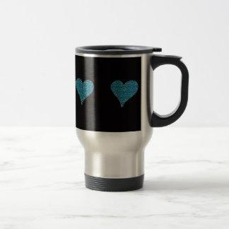 elegant animal print romantic heart blue travel mug