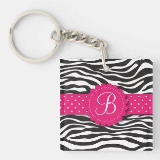 Elegant Animal Print Zebra Monogram Girly Pink Key Chains