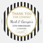 Elegant Anniversary Black Gold Thank You Favor Tag