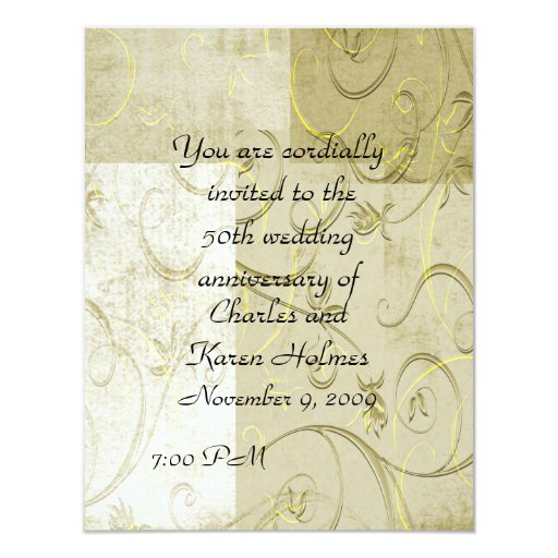 "Elegant  Anniversary Invitation 4.25"" X 5.5"" Invitation Card"