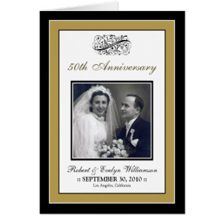 Elegant Anniversary Party Custom Card (gold)