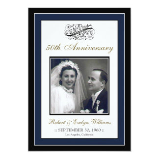 Elegant Anniversary Party Custom Invitation (navy)