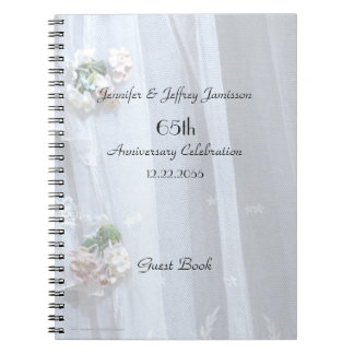 Elegant Anniversary Party Guest Book, Vintage Lace Spiral Notebook