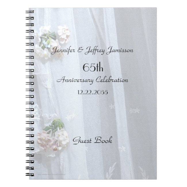 Elegant Anniversary Party Guest Book, Vintage Lace