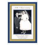 Elegant Anniversary Party Invitation (blue/gold)