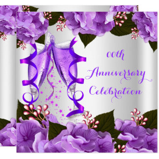 Elegant Anniversary Party Purple Flowers Card
