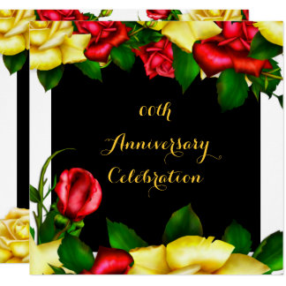 Elegant Anniversary Party Red Yellow Roses 3 Invitation