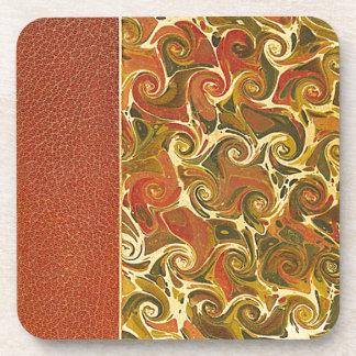 Elegant Antique Book, Ornate Swirl Pattern Beverage Coaster